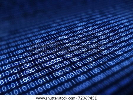 Binary code on detail pixelated screen - 3d render  with selective focus - stock photo