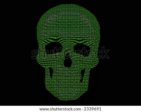 binary code & skull of the skeleton - stock photo
