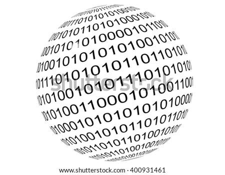 Binary code - sphere ( globe earth, ball ). White background - stock photo