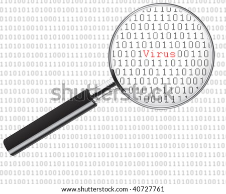 Binary code under a magnifying glass with the word virus in the middle and code in the background