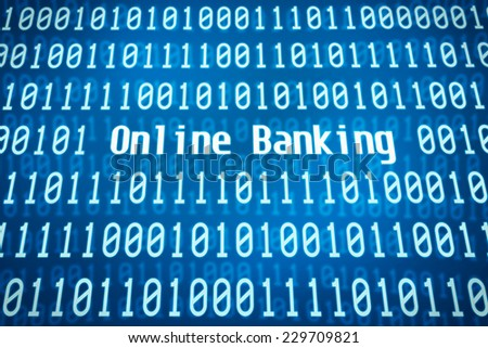 Binary code with the word Online Banking in the center