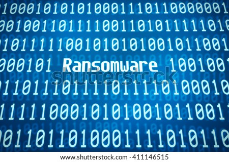 Binary code with the word Ransomware in the center - stock photo