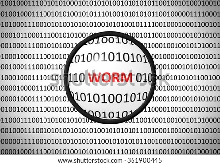 Binary code with WORM and magnifying lens on white background