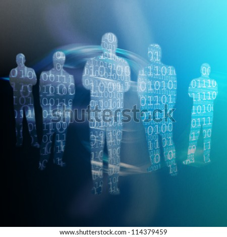 Binary code written on shapes of human body against a colorful background - stock photo