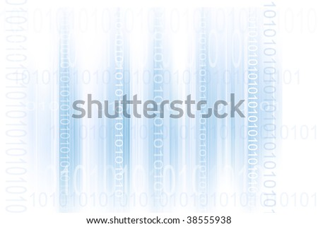 Binary codes on blue and white abstract background - stock photo