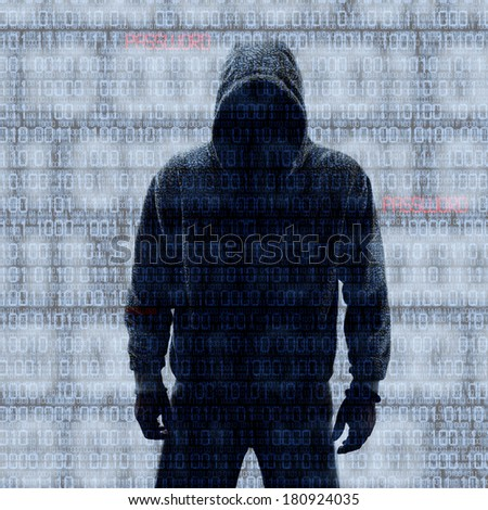 Binary codes with hacked password on black background - stock photo