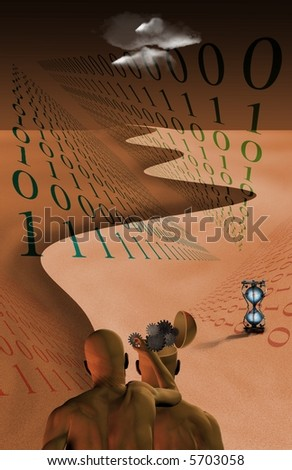 Binary Cognition - stock photo