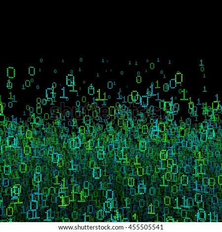 Binary data background / 3D illustration binary data cloud