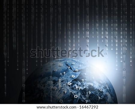 Binary Data Code Raining on Earth or Globe - stock photo