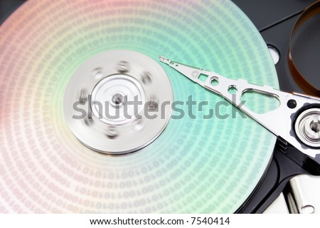 Binary data on a colorful hard disk
