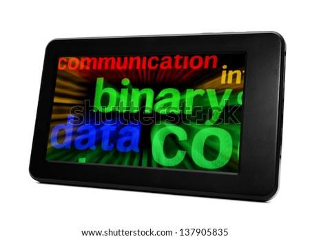 Binary data on pc tablet - stock photo