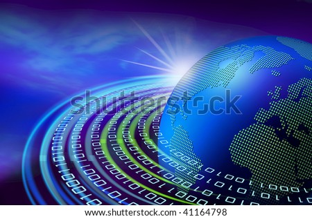 Binary data stream speeding around the digital earth globe on dawn - stock photo