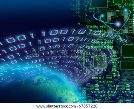 Binary data streaming around globe, circuit board background, digital technology concept - stock photo