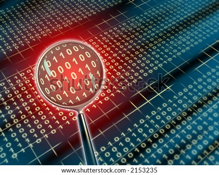 Binary data under a magnifying lens. Digital illustration. - stock photo