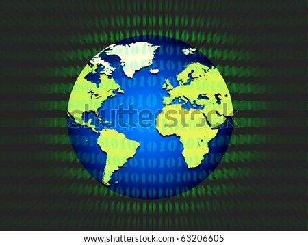 Binary Globe - stock photo