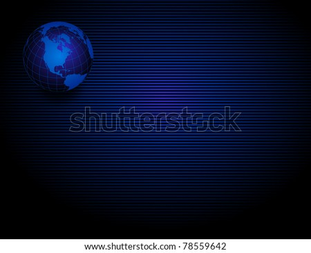 Binary globe of Americas on blue striped background as .jpg file - stock photo