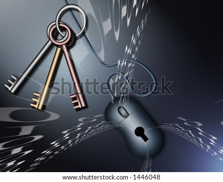 Binary lock and security - stock photo