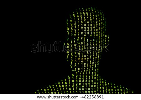 Binary numbers projection on head.