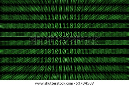 Binary numbers, zeros and ones, in green on a black computer monitor with a zoomed motion blurr