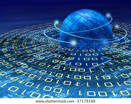 Binary planet over circuit board and surrounded by circles of binary code stream - stock photo