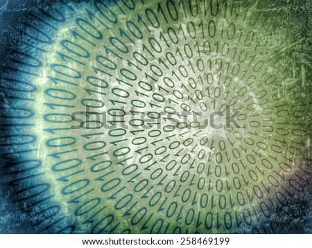 binary spiral, data code - stock photo