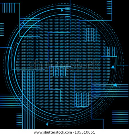 Binary Technology. Eps Version Also Available In Gallery. - stock photo