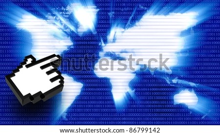 Binary world with hand icon - stock photo