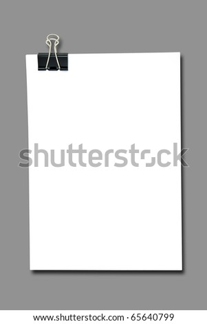 Binder clip and stack of paper - stock photo