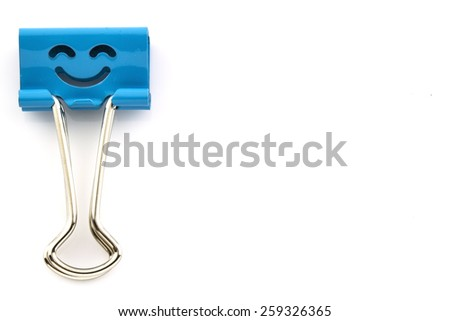 Binder clip isolated on white background, left side