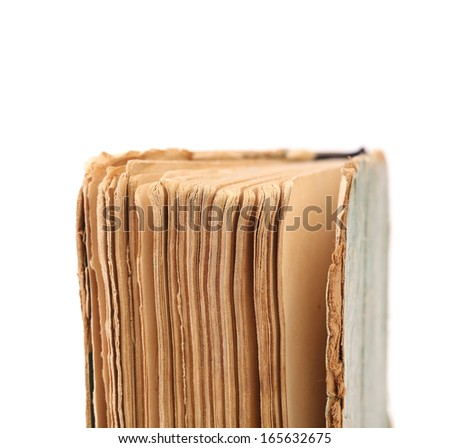 Binding of old book. Close up. Isolated on a white background. - stock photo