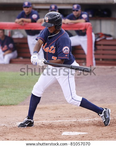 BINGHAMTON, NY - JULY 7: Binghamton Mets batter Jordany Valdespin swings at a pitch in a game against the Portland Sea Dogs at NYSEG Stadium on July 7, 2011 in Binghamton, NY