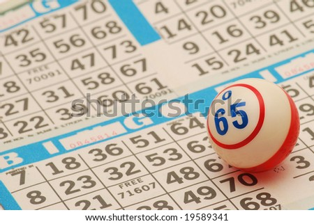 Bingo Ball on Card - stock photo