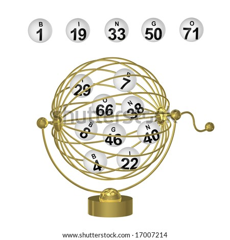Bingo balls with black numbers in round gold wire cage with handle on white background.