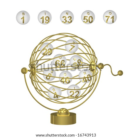 Bingo balls with gold numbers in round wire cage with handle on white background.