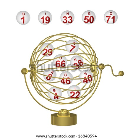 Bingo balls with red numbers in round wire cage with handle on white background. - stock photo