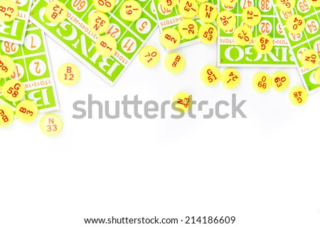 bingo card arrange with number chip isolated on white background - stock photo
