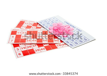 Bingo Forms and Gaming Chips on White Background