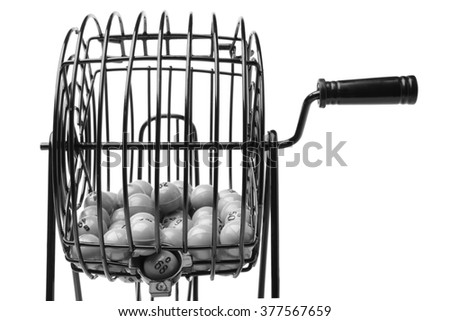 Bingo Game Cage isolated on white background - stock photo