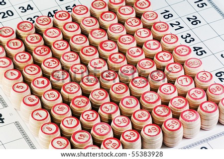 bingo game cards and wooden barrels - stock photo
