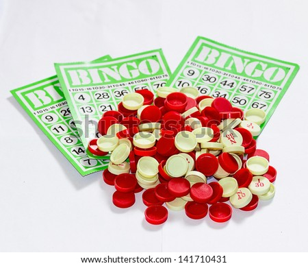 Bingo is a game of chance played with randomly drawn numbers - stock photo