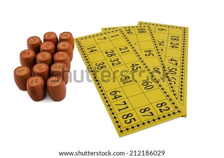 bingo kegs and cards isolated on white background - stock photo