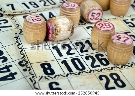 bingo (lotto) kegs and cards. Retro, vintage. - stock photo