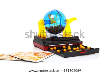 Bingo Machine on white background - stock photo