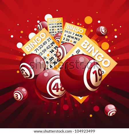Bingo or lottery balls and cards on red background. - stock photo