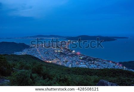 BINH DINH, Vietnam, April 17, 2016 the coastal city of Quy Nhon, Binh Dinh Province, central Vietnam. At night