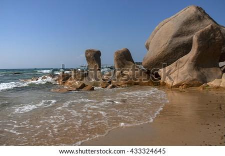 Binh Thuan, Vietnam, August 28, 2015 reefs, sea Binh Thuan, Vietnam