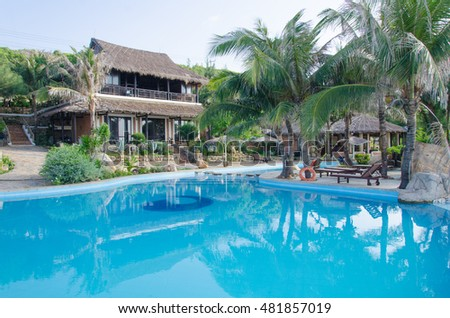 BINH THUAN, VIETNAM - JUNE 07, 2016: Beautiful tropical resort at Tien Thanh Beach, Ke Ga Bay, Binh Thuan, Vietnam. Tien Thanh and Ke Ga are some of new destinations in Vietnam.