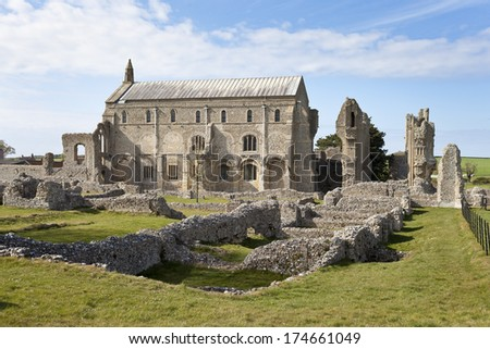 Binham Priory, Norfolk, England. Part of St Albans Abbey, built in 1091.
