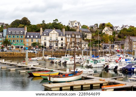 BINIC, FRANCE- OCTOBER 1, 2014: The marina at Binic, France. Binic is a seaside town in Brittany. It is about a 3 mile drive from the town of Etables sur Mer.