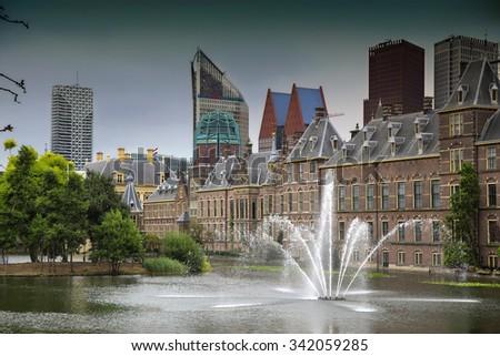 Binnenhof Palace, Dutch Parlament in the Hague, Netherlands - stock photo